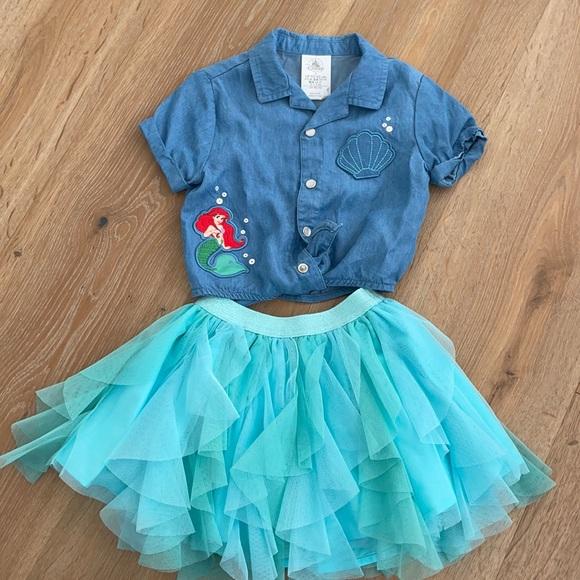Disney Ariel little mermaid skirt and denim top